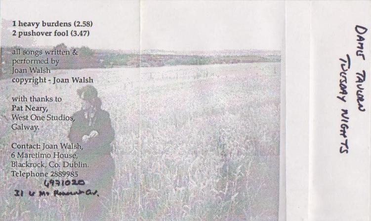 Joan Walsh Heavy Burdens Cassette inside Cover 1994