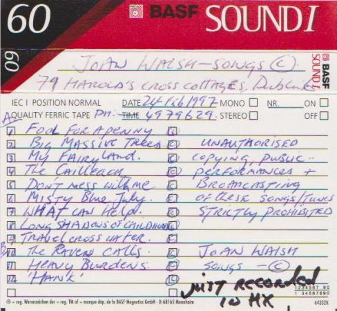 Joan Walsh Tape 12 Tracks to Record 1997